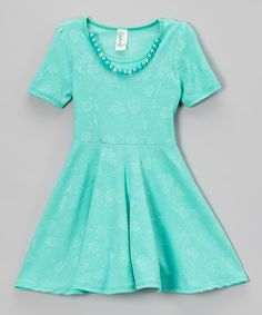 Mint Floral Necklace Skater Dress - Girls | zulily