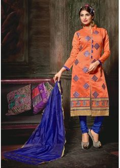 Festival Wear Orange Chanderi Cotton Salwar Suit  - 10318