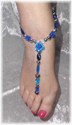Royal Blue Bridesmaids Flower Girls Barefoot Sandals