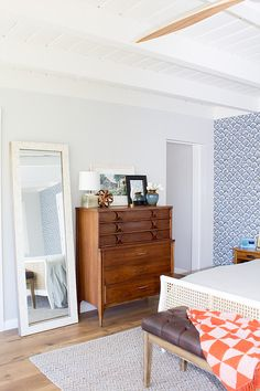 Mid Century Modern Master Bedroom With Navy And White Wallpaper. //  Designed By