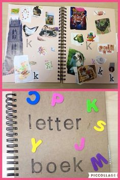 Letterboek @de spelende kleuter Kindergarten, Preschool Literacy, Teaching The Alphabet, Alphabet Activities, Primary School, Pre School, Fun Learning, Learning Activities, Classroom Language