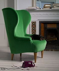 #Home Decor - #emerald green wing back chair sofaandstuff.com