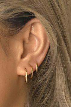 Affordable Huggie Hoop Earrings in Gold Vermeil, Sterling Silver, Rose Gold Vermeil. Hypoallergenic, Free U.S. Shipping!  Cute Cartilage Earrings, Ear Piercing Studs, Pretty Ear Piercings, Ear Peircings, Hoop Earrings, Minimal Jewelry, Stylish Jewelry, Ear Jewelry, Cute Jewelry