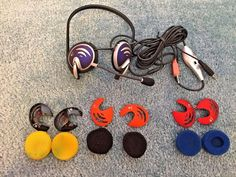 Electronic Logitech Head Set 2 Ear Pieces 1 Microphone 6 Pads 4 Covers #Logitech