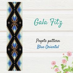 Black and blue oriental peyote pattern, Bead stich bracelet pattern, Peyote beaded cuff bracelet, Bead weaving, Golden peyote beadwork