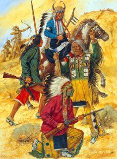 Indian warriors at the Battle of Little Big Horn