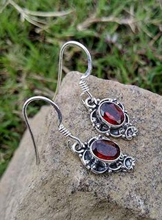 Garnet Earrings, 925 Sterling Silver, Wedding & Engagement Earrings, Fashionable Jewelry, Christmas day Gift, Beautif... Garnet Earrings, Gemstone Earrings, Garnet Gemstone, Jewellery Earrings, Dangle Earrings, Jewlery, Red Jewelry, Stylish Jewelry, Jewelry Gifts
