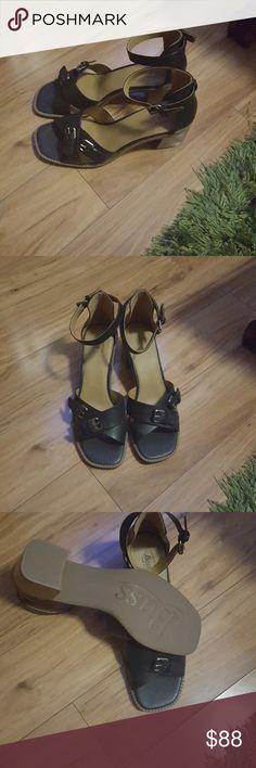 Black Bass Sandals Size 11, Black, open-toe Sandals with buckle designs Bass Shoes Sandals