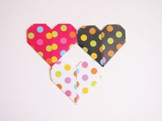 Origami Paper Hearts 3 Colors 15 Origami Hearts by KaoriCraft