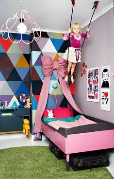 Colorful & geometric kids room w/ swing #kids #room