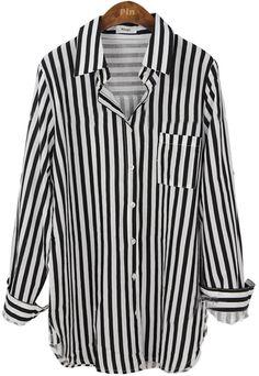 Black Lapel Vertical Stripe Pocket Embellished Shirt