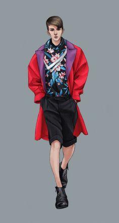 S/S 2013 Menswear Look Book Illustrations by Natalie Suarez - Balenciaga Fashion Illustration Collage, Fashion Illustration Dresses, Man Illustration, Fashion Illustrations, Book Illustrations, Fashion Design Drawings, Fashion Sketches, Fashion Sketch Template, Arte Fashion