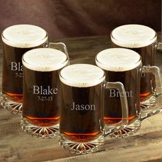 Treat your groomsmen to magnificent, personalized beer mugs.