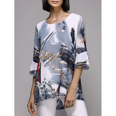 Stylish Women's 3/4 Sleeve Scoop Neck Painting Print T-Shirt, GRAY, L in Blouses | DressLily.com