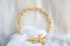 Antique French Flower Crown and Boutonniere by BarcelonaDecoLab