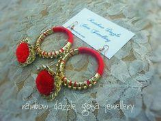Silk Thread Bangles Design, Thread Jewellery, Tassel Jewelry, Fabric Jewelry, Gota Patti Jewellery, Rakhi Design, Diy Earrings, Gold Earrings, Homemade Jewelry