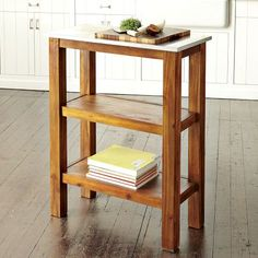 """Rustic Kitchen Prep Counter   west elm Delivery surcharge $30. $299 Stainless steel top, sturdy legs in acacia wood. 30""""w x 14.5""""d x 38""""h.  • Assembly required.  • Wipe clean.  • Imported."""