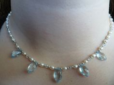 Sky Blue Topaz Necklace Freshwater Pearl Necklace Sterling