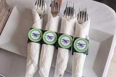 Airplane Vintage Napkin Rings Birthday Party - Navy & Green