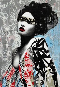 Artwork by Hush, a British artist known for mixing collage, graffiti, stencil work, painting and drawing