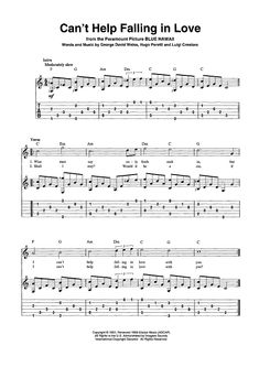 Digital Sheet Music for Can't Help Falling in Love by Luigi Creatore scored for Guitar Tab/Vocal/Chords Buy fully licensed online digital, transposable, printable sheet music Guitar Chord Sheet, Guitar Tabs Acoustic, Music Theory Guitar, Acoustic Guitar Lessons, Music Guitar, Ukulele Tabs Songs, Easy Guitar Tabs, Guitar Chords For Songs, Uke Tabs