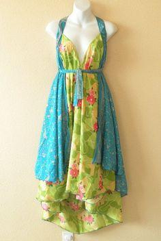 Vintage Silk Saree/ Sari Reversible Wrap Dress Skirt / Magic Wrap Skirt