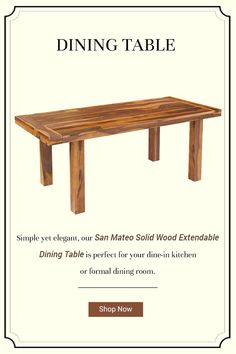 Simple yet elegant, our San Mateo Solid Wood Extendable Dining Table is perfect for your dine-in kitchen or formal dining room. #diningroom #interiordesign #homedecor #interior #diningroomdecor #diningtable #furniture #home #design #decor #kitchen #homedesign #interiors #diningroominspo #furnituredesign #interiordesigner #diningroomdesign #dining #decoration #kitchendesign #table #interiorstyling #customfurniture #largetable #solidwood #diningroomdecor #storagetable #drawer… Rustic Dining Chairs, Solid Wood Dining Table, Extendable Dining Table, Dining Room Table, Dining Table With Storage, Hardwood Table, Large Table, Dining Room Design, Custom Furniture