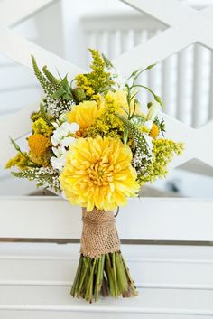 turquoise and yellow wedding flowers | Yellow Wedding Bouquet I absolutely love the wild flowers here
