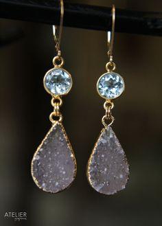 Blue Topaz Gemstone & Drusy Earrings by ATELIERGabyMarcos on Etsy, $159.00