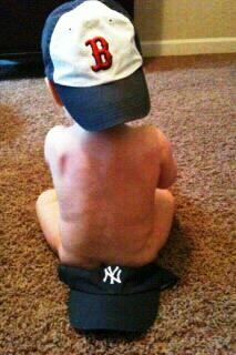 When you run out of diapers, there are always Yankees hats!