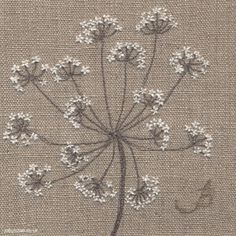 Cow Parsley on Linen, machine and hand embroidery by Jo Butcher