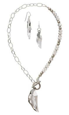 Single-Strand Necklace and Earring Set with SWAROVSKI ELEMENTS, Antiqued Sterling Silver Beads and Sterling Silver Chain - Fire Mountain Gems and Beads
