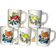 Set of 5 Vintage Berggren Originals Swedish Bird Coffee Mugs