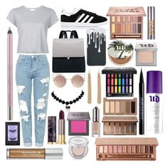 """Sin título #573"" by frichu on Polyvore featuring moda, RE/DONE, Topshop, adidas, MANGO, Forever 21 y Urban Decay"