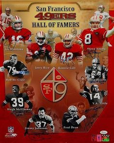 San Francisco 49ers HOFers Signed 16 x 20 Photograph - JSA Authenticated - Autographed NFL Football Photos * See this great product.