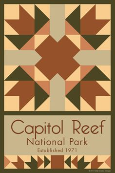 Capitol Reef National Park Quilt Block designed by Susan Davis. Susan is the owner of Olde America Antiques and American Quilt Blocks She has created unique quilt block designs to celebrate the National Park Service Centennial in 2016. These are the first quilt blocks designed specifically for America's national parks and are new to the quilting hobby.