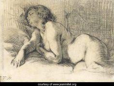 """Jean-Francois Millet (1814-1875). """"A Reclining Female Nude"""". www.jeanmillet.org"""