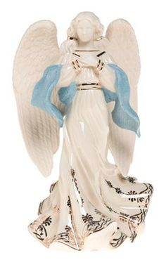 $83.00-$129.00 Lenox First Blessing Porcelain Nativity Figurine, Angel of Hope - With hands clasped over her heart, this heavenly angel brings a prayer of hope to all. Her flowing tresses are secured with two golden bands, and her flowing gown is adorned with golden flourishes. And a sky-blue sash adds the perfect touch of color to this exquisitely sculpted figurineLenox produces an array of sup ...