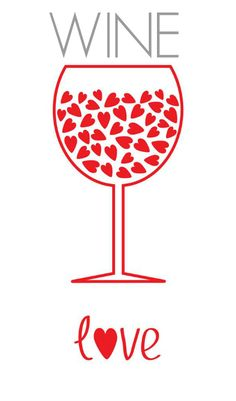 For the ♡ love ♡ of wine #Winelove (Wine glass Illustration Quotes) #cRed