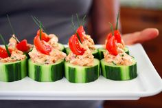 Spicy Salmon Cucumber Bites | Award-Winning Paleo Recipes | Nom Nom Paleo  [AIP if: sub coconut cream & acv, or coconut yogurt for mayo, skip paprika, tabasco, & pepper, sub prefered spices (turmeric, asafoetida, dill); skip shallots for low FODMAP, sub capers?]