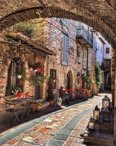 A quiet cozy street in Assissi Italy