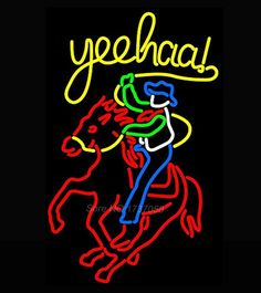 New Cowboy Riding Horse Sign Handcrafted Neon Sign Beer Bar Pub Recreation Room Windows Garage Wall Sign Real Glass Tube 24x20(China (Mainland))