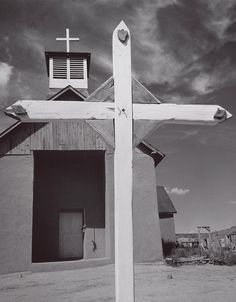 White Cross and Church, Coyote, New Mexico (1937) By Ansel Adams