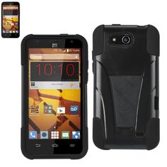 Reiko Silicon Case+Protector Case For ZTE Speed N9130 Black New Type Kickstand