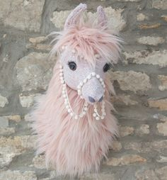 Handmade blush pink Llama, Llama or Alpaca. Predominantly made using a paper mache technique to create the animals anatomy of the head which is then mounted on a solid wooden hessian covered plaque with hook ready to hang. Crochet Taxidermy, Faux Taxidermy, Deer Species, Llama Decor, Llama Alpaca, Alpaca Plushie, Fiestas Party, Hobby Horse, Animal Heads