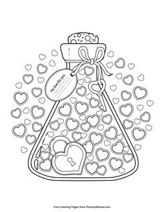Free printable Valentine's Day Coloring Pages eBook for use in your classroom or home from PrimaryGames. Print and color this My Love For You coloring page.