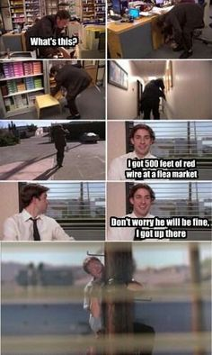 Got to love Jim. He is so funny and he comes up with these great pranks for Dwight and it's so funny. If you haven't watched The Office then I suggest that you watch it just for Jim and Dwight. Dundee, Office Jokes, Office Prank, Funny Office, Office Tv, Office Gifs, Image Hilarante, The Office Show, The Office Jim
