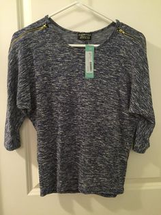 Papermoon Laurenza Lace Zipper Knit Top in Navy. Length is perfect, has cute detail and can be dressed up or down