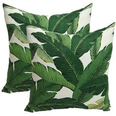 Set of 2 Tommy Bahama Swaying Palms Aloe Tropical Palm Leaf Decorative... (710 MXN) ❤ liked on Polyvore featuring home, home decor, throw pillows, pillows, fillers, decor, decorative pillows, grey, home & living and home décor