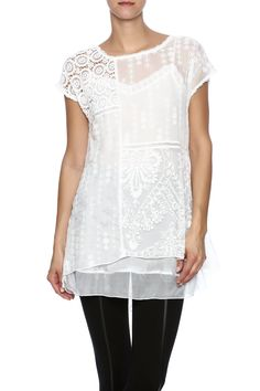 Lace patchwork ivory top with short sleeves and a high low hem. Cami not included.   Allie Patch Top by 4 Love & Liberty. Clothing - Tops - Short Sleeve Clothing - Tops - Blouses & Shirts New Jersey